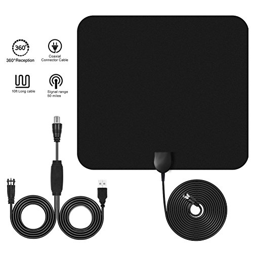 Hd Indoor Extension Cord (BINGONE Tv Antenna Indoor Amplified 50 Miles Range For 1080p Digital With Extension Cable HDTV Signal Booster Upgraded Version-10ft Coax Cable,Black)