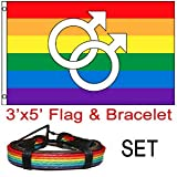 Double Male Symbol – Rainbow Gay Pride Flag – LGBT Flag 3×5 w/ Leather Rainbow Bracelet For Sale