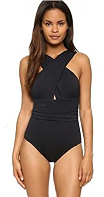 EBBiE Zow Front Criss Cross Ruched One Piece Swimsuit Swimwear for Women