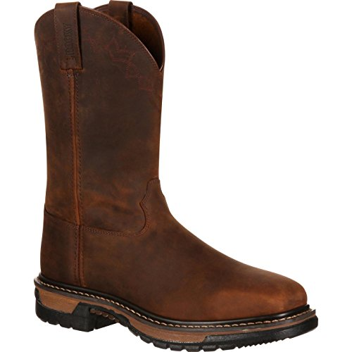 ROCKY Men's RKW0117 Western Boot, Dark Brown, 9.5 M US