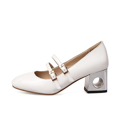 White Womens Heels AmoonyFashion Pumps Buckle Solid Shoes Toe Closed Square Kitten TOxwqvxZ