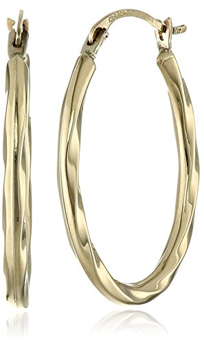 Yellow Gold Twist Earrings (14k Yellow Gold Oval Twist Hoop Earrings)
