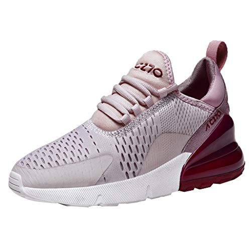 Cealu Women's Air Cushion Sneakers, Summer Outdoor Lightweight Athletic Tennis Sport Mesh Shoe Slip-on Lace Up Running Shoes (US:6.5)