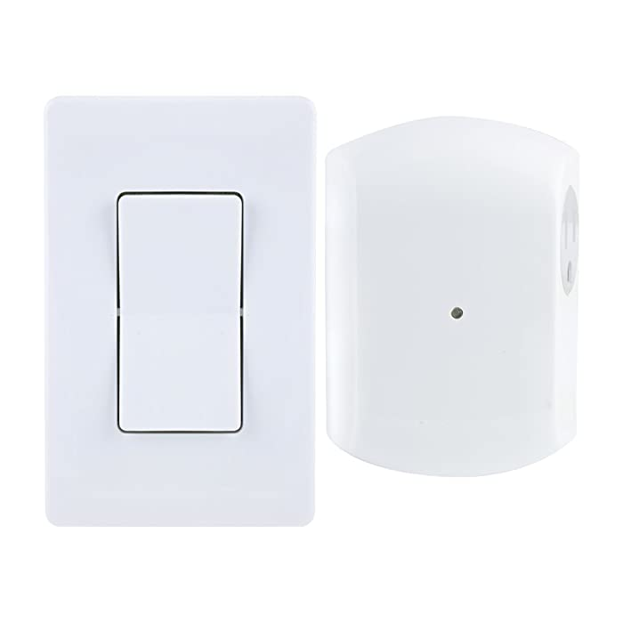 GE Wireless Remote Wall Switch Control, No Wiring Needed, 1 Grounded Outlet, White Paddle, Plug-in, Up to 100ft Range, Ideal for Indoor Lamps, Small Appliances, and Seasonal Lighting, 18279, Other