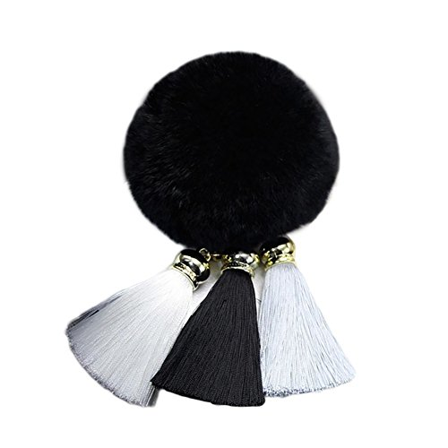 Sufum Soft Rabbit Fur Pom Pom Keychain with Rainbow Tassel Keychain