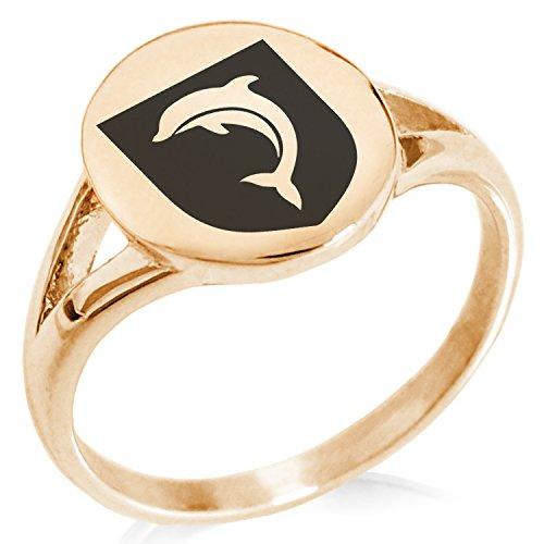 Tioneer Rose Gold Plated Stainless Steel Dolphin Diligence Coat of Arms Shield Symbol Minimalist Oval Top Polished Statement Ring, Size 10 by Tioneer