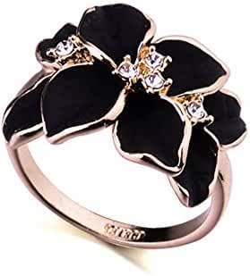 Acefeel Rose Gold Plated AAA Zircon Crystal Luxurious Black Enamel Flower Design Cocktail Ring