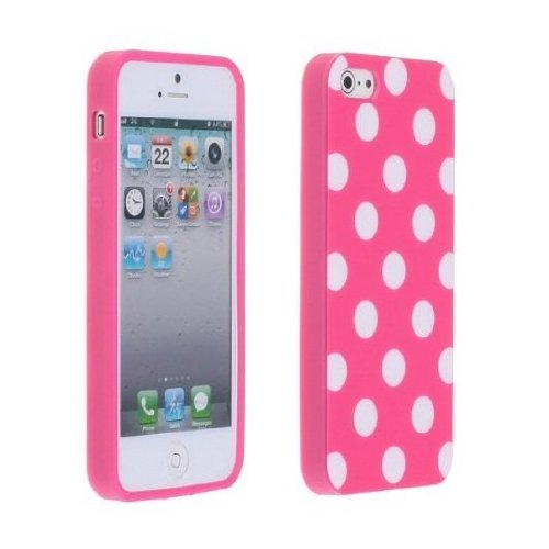Importer520 Polka Dot Flex Gel TPU Cover Case for Apple iPhone 5S / iPhone 5 , Light Pink (Iphone 5 Polka Dot Case)