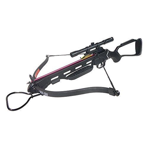150 Lb Crossbow Arrows (150 lb Black Hunting Crossbow Aluminum Stock +4x20 Scope + 7 Bolts / Arrows + Rope Cocking Device 180 175 80)