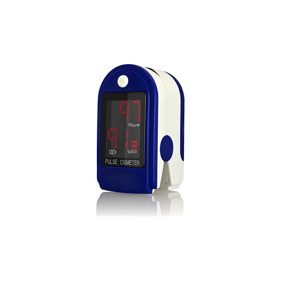 AccuMed CMS 50DL Finger Pulse Oximeter Blood Oxygen SpO2 Sports and Aviation Monitor, FDA Cleared w/Carrying case, Lanyard Silicon Case & Battery (Blue)
