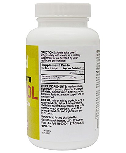 Qunol 200mg Ubiquinol Powerful Antioxidant for Heart and Vascular Health Essential for energy production Natural Supplement Active Form of CoQ10 60 Count Discount