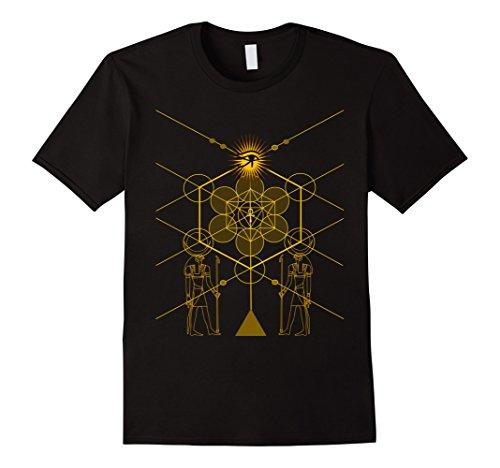 Mens Sacred Geometry Science Egyptian T-Shirt HORUS HERU XL Black