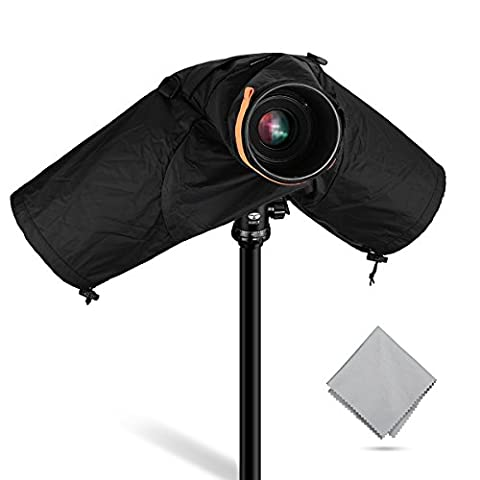 Powerextra 2 in 1 Professional Waterproof Camera Rain Cover for Canon Nikon Sony and Other DSLR Cameras, Suit for Both Wide-angle lens and Telephoto Lens, Great for Rain Dirt Sand Snow (Waterproof Camera With Zoom)