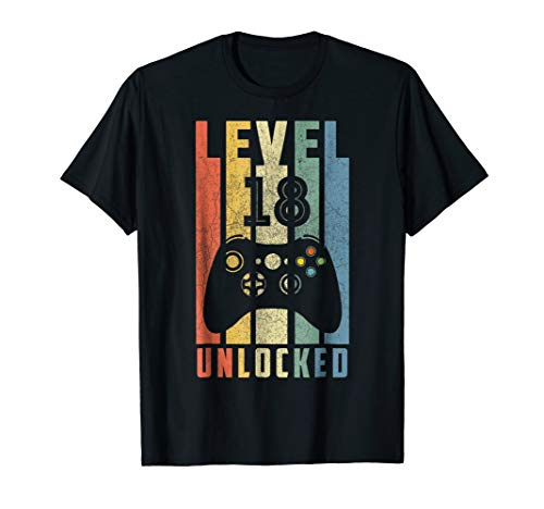 Level 18 Unlocked Tshirt 18th Video Gamer Birthday Boy Gifts ()