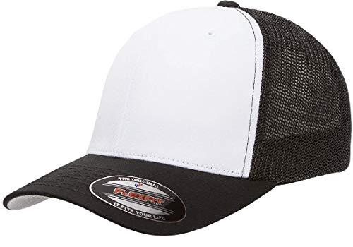 Flexfit Trucker Hat for Men and Women | Breathable Mesh, Stretch Flex Fit Ballcap w/Hat Liner (Black/White/Black) (A-flex Fit Stretch Hat)
