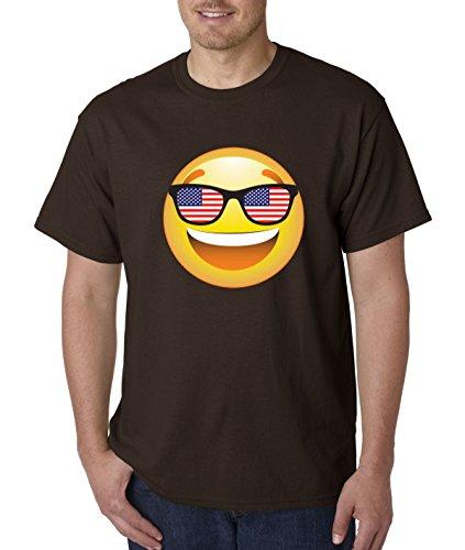 T-Shirt Emoji Smiley Face USA American Flag Sunglasses 4th July 4XL Dark Chocolate ()