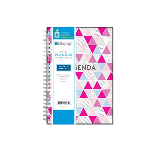"""Blue Sky 2019 Weekly & Monthly Planner, Flexible Cover, Twin-Wire Binding, 5"""" x 8"""", Geometric Triangles"""