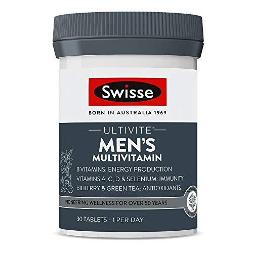Swisse Ultivite Men's Daily Multivitamin Tablet Energy and Immunity Support Rich in Vitamins Minerals and Botanical…