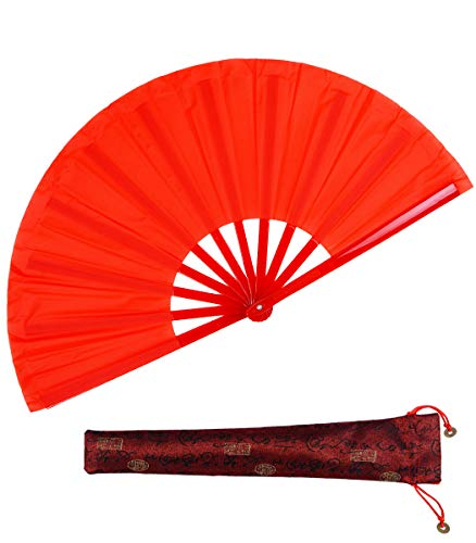 Dance Folding Hand Fan-Red Large Chinese Kung Fu Tai Chi Plastic-Nylon Hand Held Folding Fans for Men/Women with a Fabric Case for Protection 13inch (Hand Fan red)]()