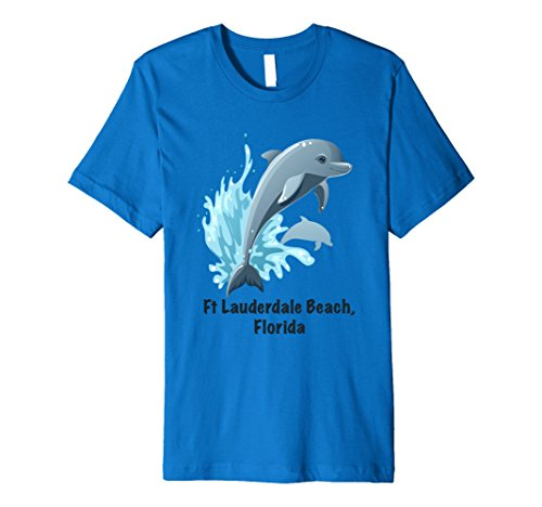 Mens Dolphins, Ft Lauderdale Florida beach tee shirt Large Royal - Shops Lauderdale Ft Beach