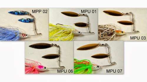 Akuna [5MPP Pack of Five Mixed Colors Custom Hand Painted Holographic Fishing Lures with Twin Willow Blades, 1/2 oz B