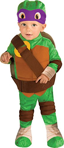 Ninja Turtle Costumes For Toddlers (Nickelodeon Ninja Turtles Donatello Romper Shell and Headpiece, Green, Toddler)
