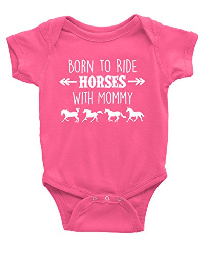 (Born to Ride Horses with Mommy, Short Sleeve Horse Bodysuit, Baby Boy or Girl (12 Months, Raspberry) )