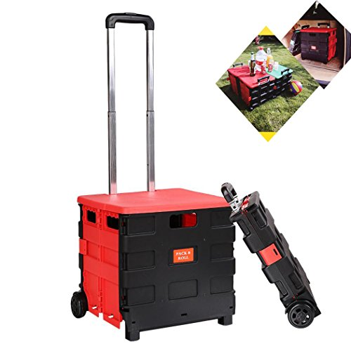 Dtemple Folding Hand Cart Multifunction Collapsible Truck Shopping Travel Casual Trolley Handcart Confidence Monitor Cart