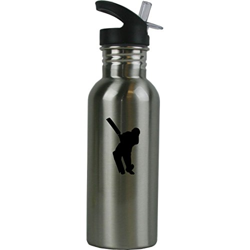 Personalized Custom Cricket Player Stainless Steel Water Bottle with Straw Top 20 Ounce Sport Water Bottle Customizable by CustomGiftsNow