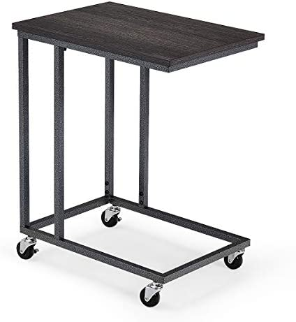 Giantex Side Table Wooden Rectangle W/Rolling Caster