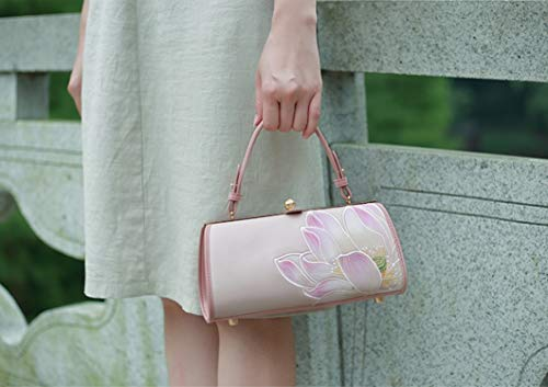 Pink Jade Embroidery Lotus Cheongsam Handbags Women's Chain Mini Bag Shoulder Pmsix Bags Style Ww1S0vnqWE