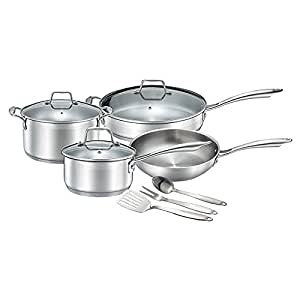 Chef's Star Professional Grade Stainless Steel 10 Piece Pots & Pans Set - Induction Ready Cookware Set with Impact-bonded Technology