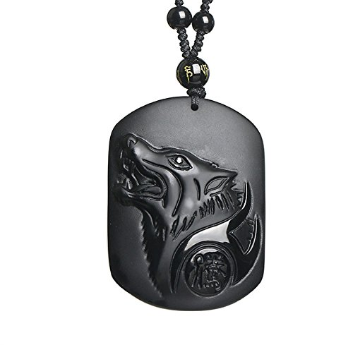 (ZTAN Obsidian Wolf Totem Necklace Amulet Pendant with Long Adjustable Bead Chain)