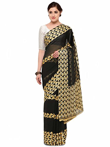 Saree Indian Printed Export Satrani Poly Handicrfats Georgette Black J3K1lFcT