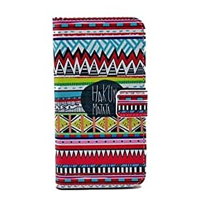 COT Innovative design Hakuna Matata Tribal Carpet Pattern PU Leather Full Body Case with Card Slot for Samsung Galaxy S5 I9600 Cellphones
