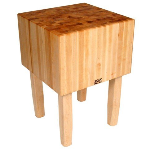 John Boos Solid 16 Inch Hard Rock Maple End Grain Butcher Block on Square Legs, 24 x 18 -