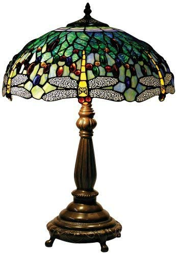 Yellow Dragonfly Tiffany Style Table Lamp