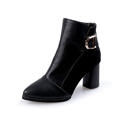Punta Gruesos Invierno Inferior Otoño Mujer Heeled La De Terciopelo 36 Zapatos De Barril 38 Botas KHSKX Negro La Y Cortas E High Nuevos 07wOCECq