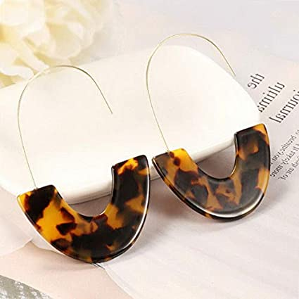 53b1c3870bf73a Amazon.com: Monowi 2019 New Geometric Round Tortoise Earrings Acrylic Resin  Oval Pendant Earrings   Model ERRNGS - 5299  : Arts, Crafts & Sewing