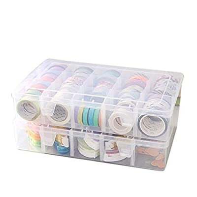 Adjustable 15-Compartment Grid Slot Plastic Storage Box Jewelry Bead Tool for Washi Tape, Art Supplies and Sticker Container Organizer Case from BeatBasic