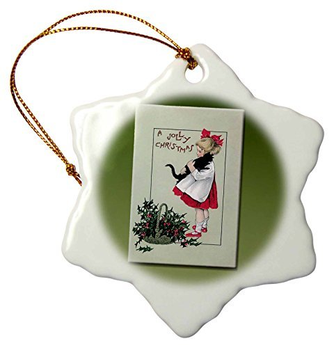 - Ornaments to Paint A Jolly Christmas Little Girl Holding A black Cat with A Basket of Holly Leaves and Berries - Snowflake Ornament, Porcelain, 3-Inch (153421_1)