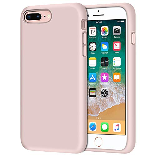 """iPhone 8 Plus Case, iPhone 7 Plus Case, Anuck Soft Silicone Gel Rubber Bumper Case Microfiber Lining Hard Shell Shockproof Full-Body Protective Case Cover for iPhone 7 Plus /8 Plus 5.5"""" - Pink Sand"""