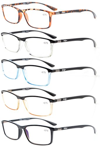 Eyekepper 5-Pack Reading Glasses Clear Vision Stylish Look Unique Hinges Included Computer Glasses +0.75