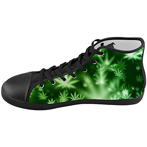 Custom Kid's Shoes Green Grass New High Top Canvas