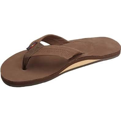 Rainbow Single Layer Leather Sandal - Men's Premier Dark Brown Small