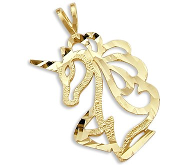 Solid 14k Yellow Gold Unicorn Head Charm Pendant PRETTY 14k Yellow Gold Unicorn Pendant