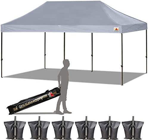 ABCCANOPY 18 Colors 10×20 Pop up Tent Instant Canopy Commercial Outdoor Canopy with Wheeled Carry Bag Bonus 6 Weight Bags Gray