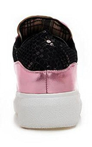 Top Low Pink Lace Fashion Sneakers Womens Wedge Round Heel Solid Up Ankle Toe CHFSO Platform qH8w60q
