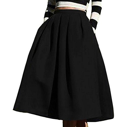 (Yige Women's High Waisted A line Skirt Skater Pleated Full Midi Skirt Black US8)