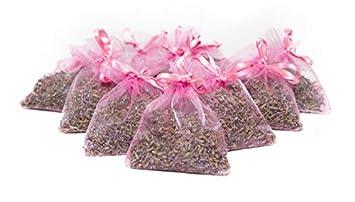 Bio Lavender de Francia || Lavanda Seca Pura || 10 Bolsas de Organza con 5 Gramos de Lavanda biológica certificada || Lavanda biológica certificada ...